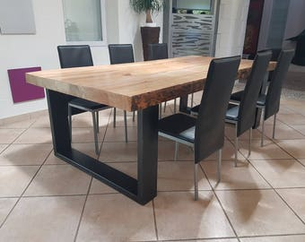Industrial furniture table dining table in massive pine of 8 cm