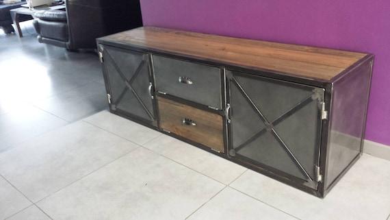 meuble industriel tv acier et bois vintage. Black Bedroom Furniture Sets. Home Design Ideas
