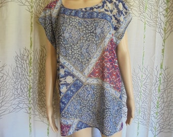 "Blouse size 38/40/42/44/46 printed tunic ""scarf"": Red/Burgundy/blue/Brown/gray and white chiffon polyester women."