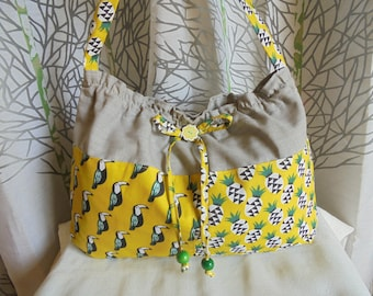 Two toucans/pineapple print canvas tote bag: yellow/mustard/Green/Black and white on gray cotton canvas. Tote bag or tote.