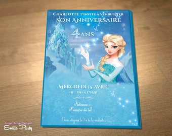 Personalized printable birthday invitation theme: Princess frozen, Elsa