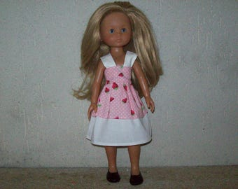 clothes for dolls of 32 33 cm, with the girls dress in cotton improme with strawberries