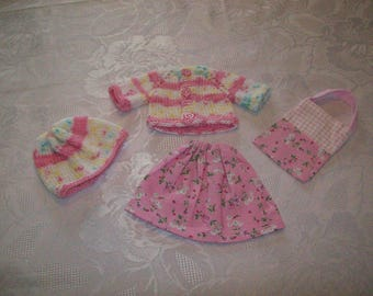 clothes for dolls 32 33 cm, with (printed cotton skirt) girls vest or sweater, hat, bag