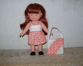 20 cm:type corolline doll dress, dress cotton printed with matching bag