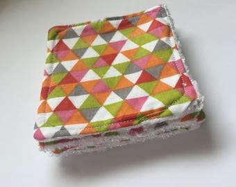 Washable cleansing squares patterned bamboo cotton
