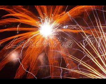 Fire 30X40cm photo of fireworks orange flower