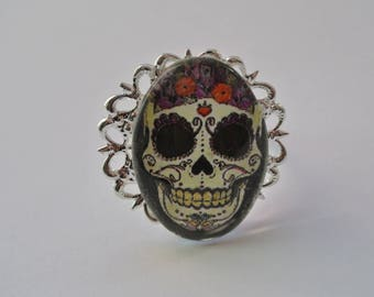 glass skull cabochon Adjustable ring