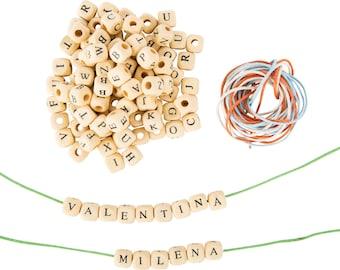 300 cube Alphabet beads natural wood