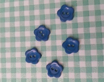 Set of 5 buttons blue flower 1/2 cm in diam n9