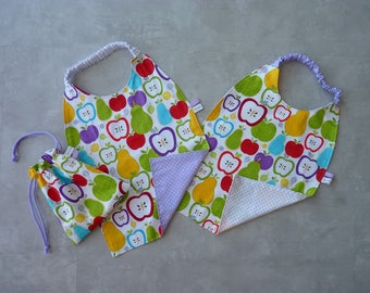 Great canteen - set of 2 table-napkin and their apples/polka dot storage pouch