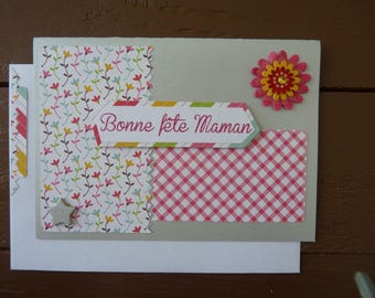 "Card ""Happy mother's day"" pink and gray"