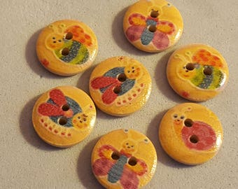 10 buttons pattern of butterflies and bees wood 1.5 cm