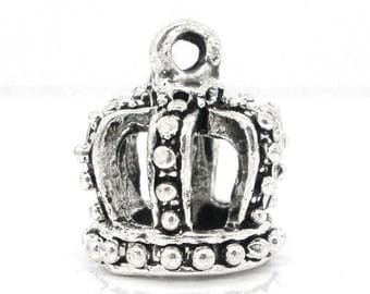 1 pendant, Crown - silver - 16 x 12 mm