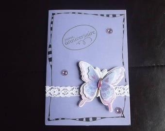 "Card ""happy birthday"" purple."