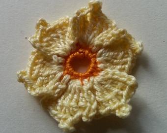 Cronus kousa yellow orange flower crochet applique for sale individually