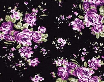 Purple Rose Floral on Black Cotton Jersey Blend Knit Fabric **UK Seller**