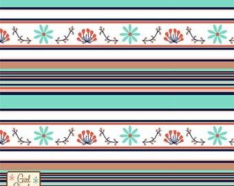 Modern Air Prairie Stripe Cotton Jersey Blend Knit Fabric **UK Seller**