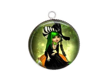 Pendant cabochon resin, 20 or 25mm, Halloween, witch