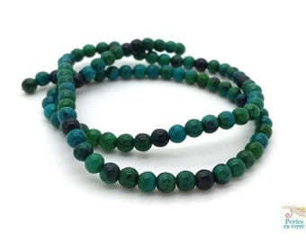 95 beads of Chrysocolla diameter 4 to 4.5 mm ideal for wrap bracelet, green (pg58)