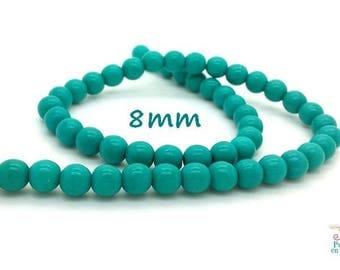 50 beads 8mm turquoise Howlite (ph112)