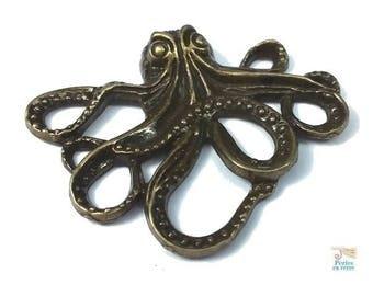 2 pendants Octopus squid Octopus 35x43mm color bronze nickel free (BRE389)
