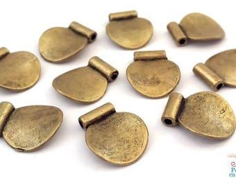 6 wavy beads bronze color, nickel free, diameter 3x12x14mm (pm165)