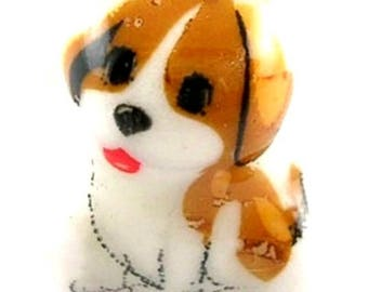 1 Pearl porcelain puppy 17mm (pc64)