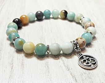 om bracelet amazonite bracelet womens bead bracelet om jewelry yoga bracelet mala beads stretch gemstone jewelry bracelet for women 8 mm