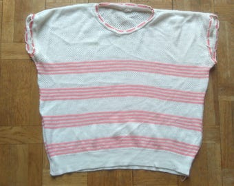 70's Pink Striped Knit Top White Sleeveles Women's Slouchy Top Knitted Feminine Blouse Original Vintage Pinstriped Tank Top Female XS Small