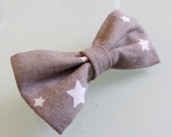 Bow hair clip Barrette taupe stars
