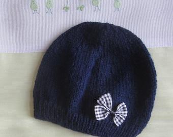 """Baby size Beanie/hat """"birth"""" Blue Navy""""- handmade knit"""