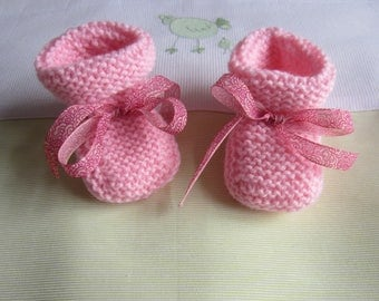 Size newborn pink color - hand made knitted baby booties
