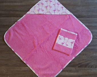 Hooded towel and a washcloth for baby girl