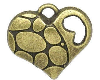 bronze 2 Charms 18 x 17 mm heart charms