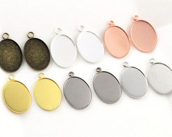 Silver 18 x 13 mm / 5 holders pendant cabochon 18 x 13 mm