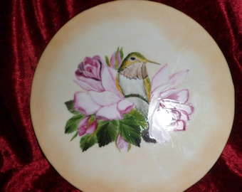 plate holder or plate villa bird motif and pink