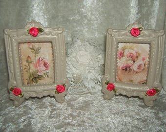 Romantic duet of shabby chic patina linen frames, old rose and Fuchsia satin flowers bouquet