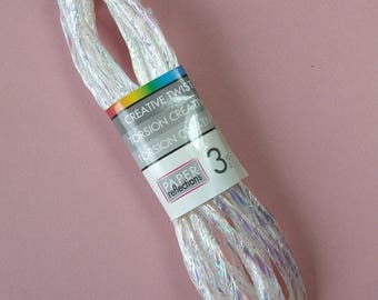 Skein 2.70 meters of cord, synthetic twine, twist, white iridescent, 5 mm.