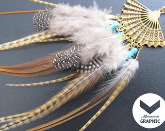 Gold necklace with natural Rooster feathers and Guinea fowl