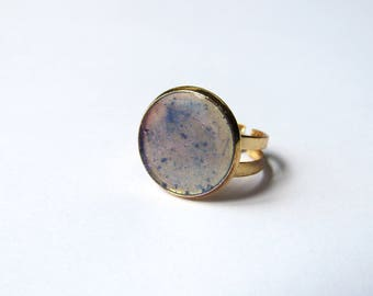 Ring gold brass and transparent blue polymer clay cabochon