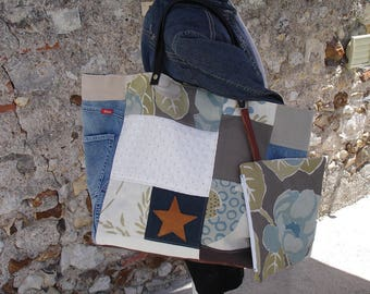large tote bag - patchwork - linen fabric - silk - jean - pouch