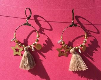 Daydream hoop earrings gold and beige