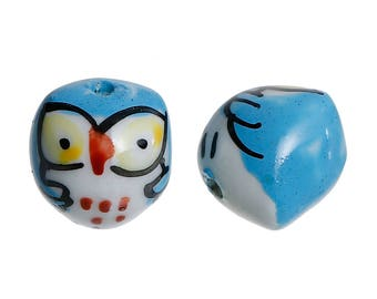 Pearls Blue ceramic owls