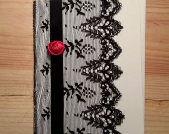 Black Lace and red rose card