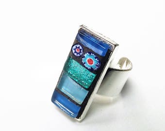 Rectangular mosaic blue metal Adjustable ring silver