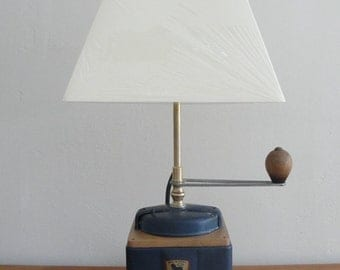 Object away mill coffee vintage, metal and wood table lamp