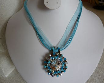 Turquoise Swarovski Crystal pendant