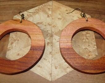 Rustic wood Earrings: big fruity hoops