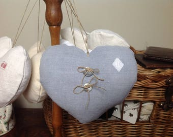 Hanging heart made from grey linen