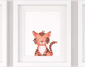Tiger nursery print, PRINTABLE nursery wall art P136